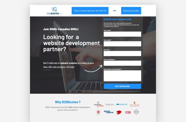 B2B quote landing page example