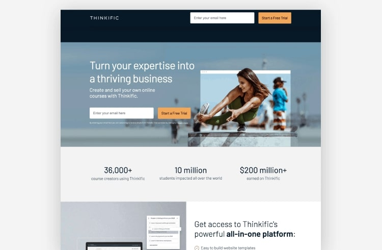 Thinkific landing page example