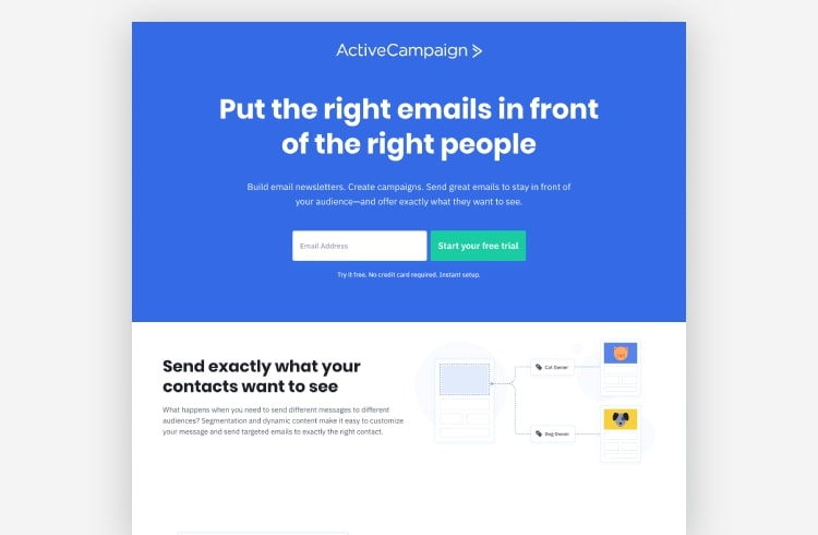 Active campaign landing page example