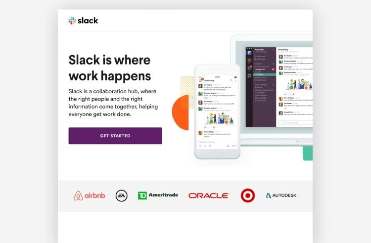 slack landing page example