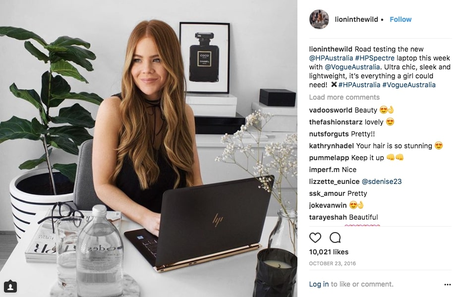 Influencer post