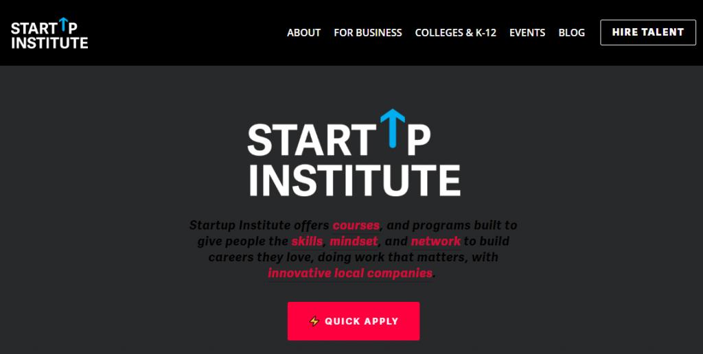 Startup Institute Landing Page