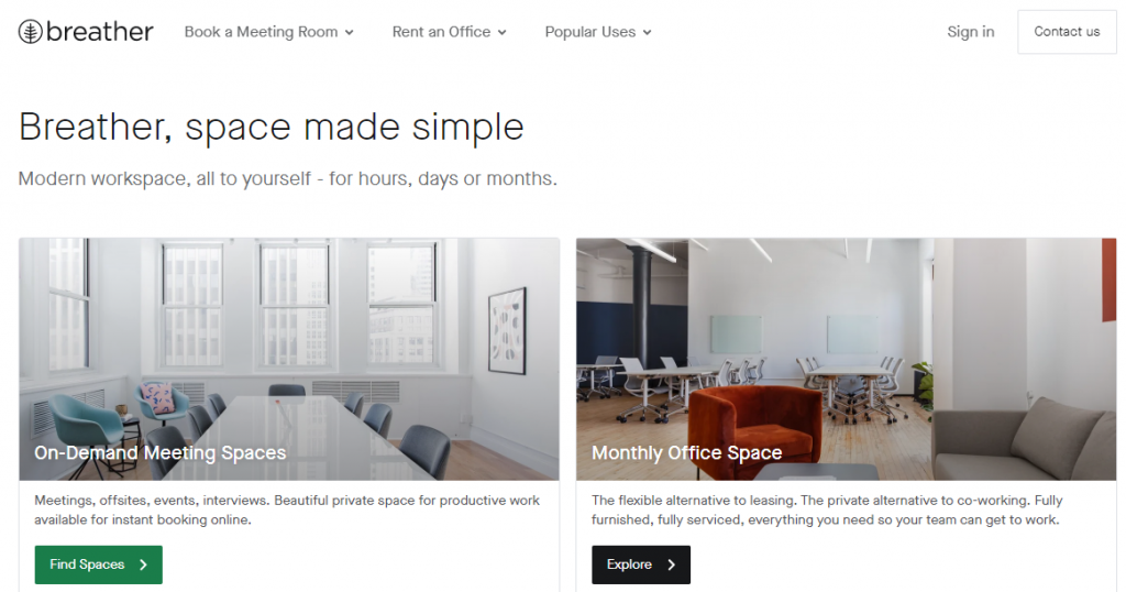 Breather - Landing Page Design