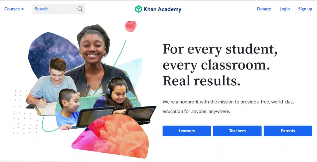 Khan Academy - Landing Page