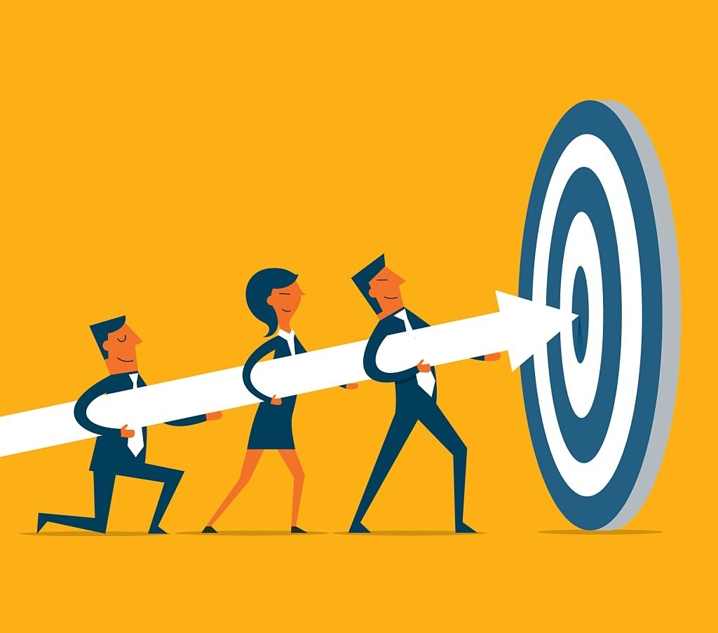 Business Team on a dart hitting the target to show retargeting customers